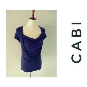 CAbi Cowl Neck Gray Short Sleeve Tee M